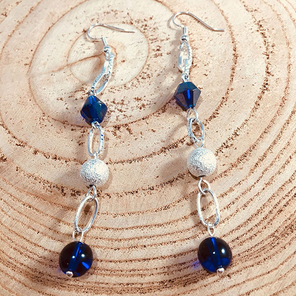 Silver Plated Drop Earrings with Navy Blue Pearls, Beacons and Frosted Beads