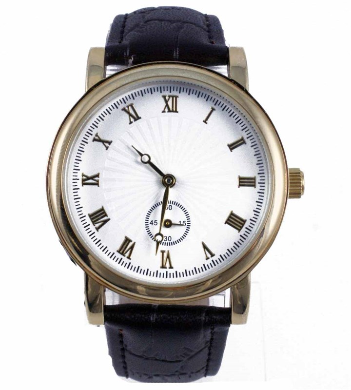 MENS GOLD ROUND WATCH WITH GOLD ROMAN NUMERALS
