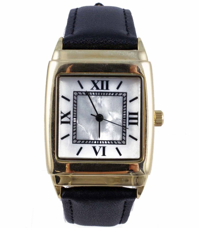 LADIES GOLD PLATED SQUARE WATCH W/ MOTHER OF PEARL FACE