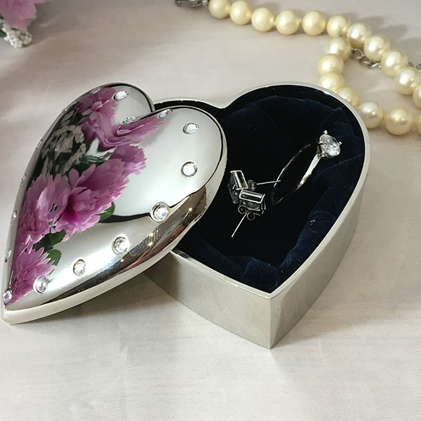 Personalised heart trinket box with crystals
