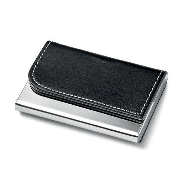 Leather Business Card case with Metal engraving panel