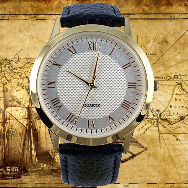 MENS GOLD FINISH ROUND WATCH WITH GOLD ROMAN NUMERALS