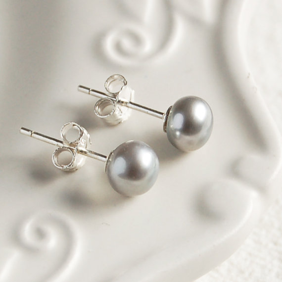 Sterling Silver Grey Pearl Earrings 6mm