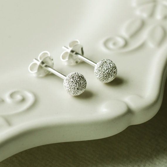 Sterling Silver Frosted Stud Earrings
