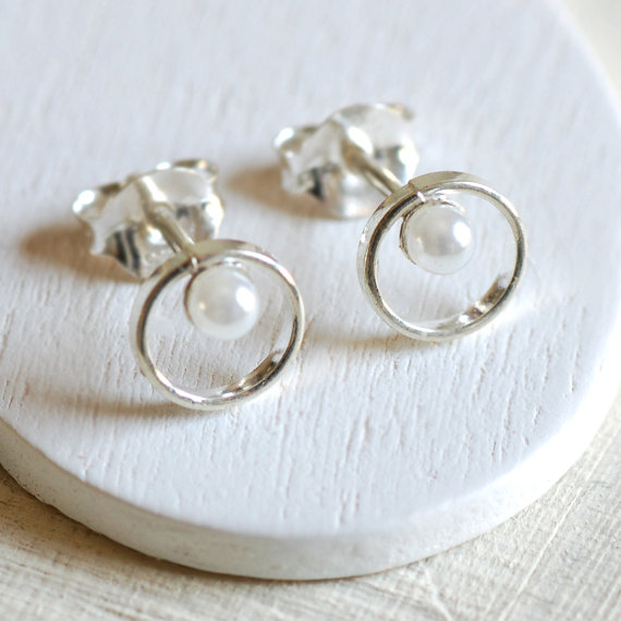 Sterling Silver Pearl and Loop Stud Earrings