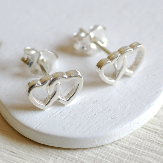 Sterling Silver Twin Heart Stud Earrings
