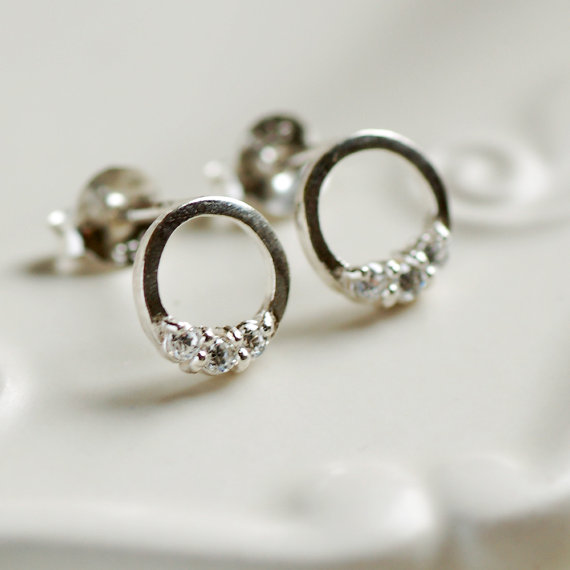 Dainty Sterling Silver Diamante Loop Stud Earrings
