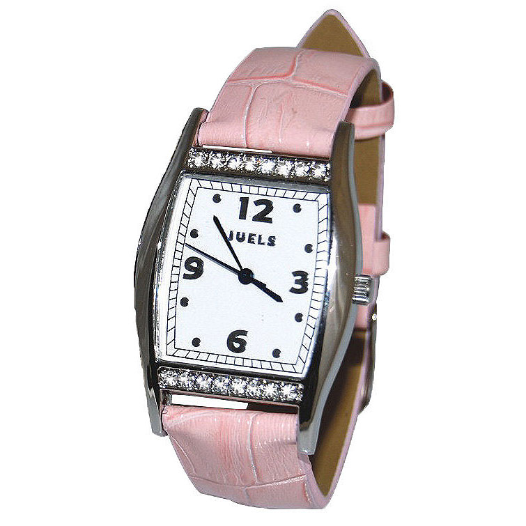 Time After Time Ladies Watch w/ Swarovski crystals and pink leather strap