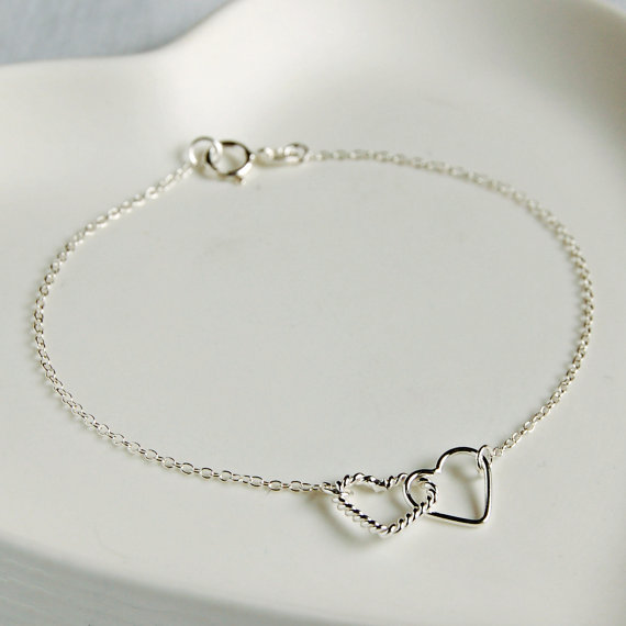 Sterling Silver Interlocking Hearts Bracelet