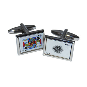BLACK JACK 21 CUFFLINKS IN BLUE BOX