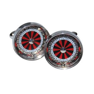 ROULETTE CUFFLINKS IN CHROME BOX