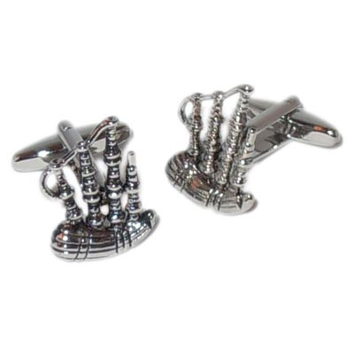 BAGPIPES CUFFLINKS IN CHROME BOX