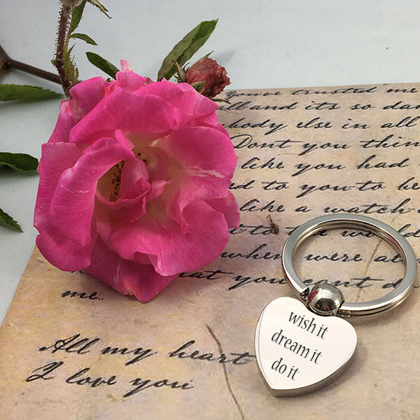 Engraved Silver Heart Keyring