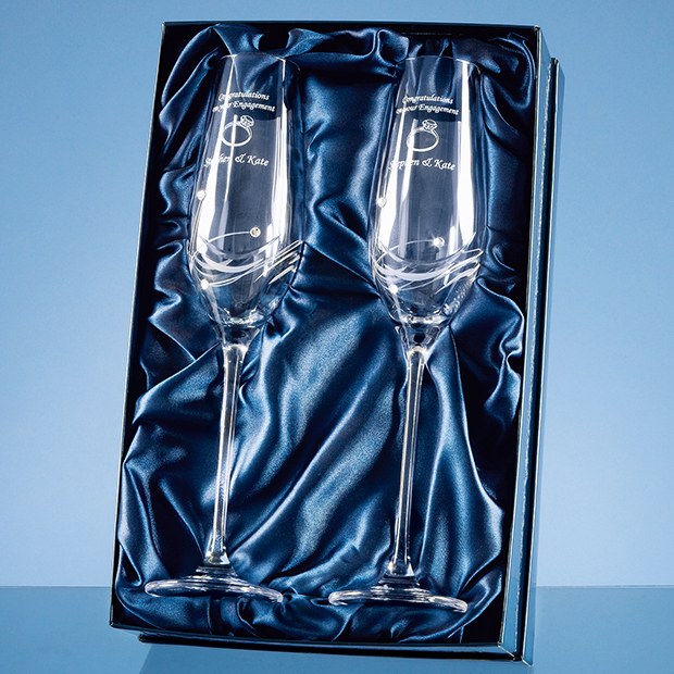 Personalised Diamante Champagne Flutes Featuring Swarovski® Crystals