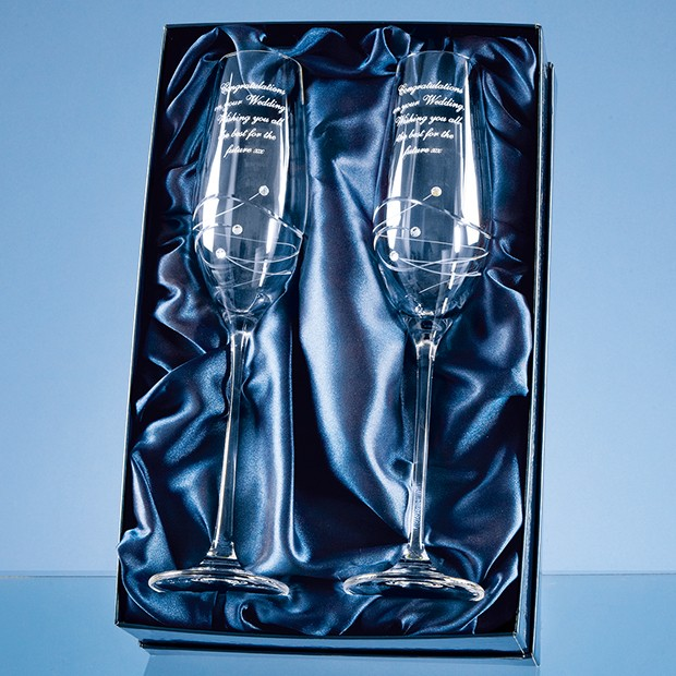 Personalised set of 2 Diamante Champagne Flutes with Spiral Design Cutting and featuring 3 Swarovski® crystals bonded to the side of the flute and supplied in a Satin Lined Presentation Box