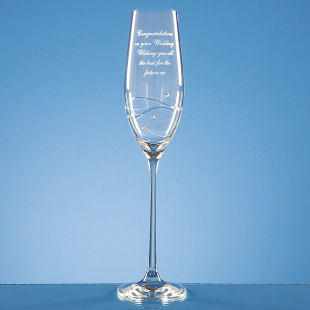 Personalised Single Champagne flute w/ Spiral design and Swarovski® Crystals