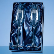 Personalised Set of 2 Diamante Champagne Flutes w/ Swarovski® crystals in presentation box