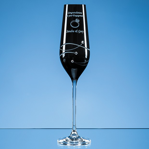 Personalised Single Onyx Black Diamante Champagne Flute with Spiral Design Cutting