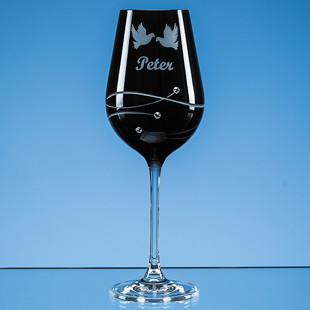 Personalised Single Onyx Black Diamante Wine Glass with Spiral Design Cutting