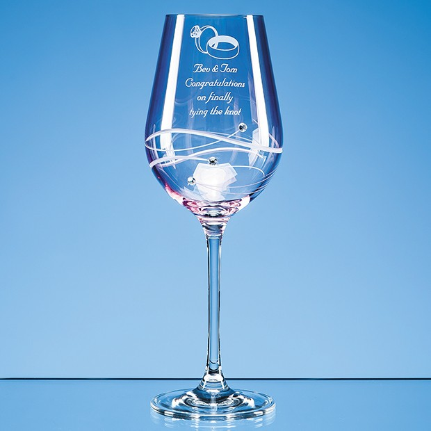 Personalised Single Pink Diamante Wine Glass with Spiral Design Cutting