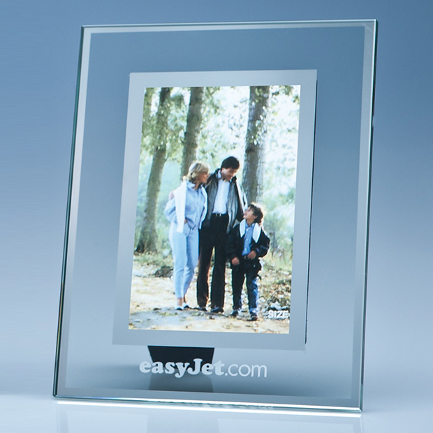 Clear Glass Photo Frame with Mirror Inlay (4\ x 6\)