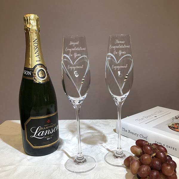 7e290b0e4e9 Diamante Champagne Flutes with Heart Shaped Cutting Featuring Swarovski®  Crystals