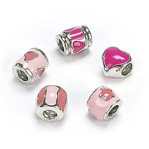 Silver Plated Pink Enamel x 5