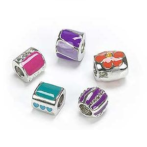 Silver Plated Coloured Enamel x 5