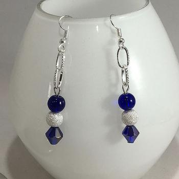 Silver Drop Earrings with Navy Blue Beacon and Frosted Beads